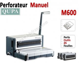 Perforateur Horizontal manuel - Perforation 25 feuilles A4 M600 QUPA  Machine à relier par anneaux