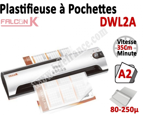 Plastifieuse à Pochettes A2 Eco - Plastifier : 80/100/125/175/250µ DWL2A FALCONK Machine à Plastifier
