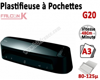 Plastifieuse à Pochettes A3 - Plastifier : 80 /100/125µ G20 FALCONK Machine à Plastifier