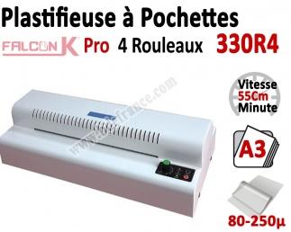 Plastifieuse à Pochettes A3 Pro - 4 Rouleaux + Plaque chauffante 330R4 FALCONK Machine à Plastifier