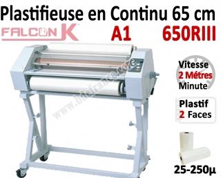 Plastifieuse en Continu 65 cm / A1 - Stand inclus, Vitesse : 200 cm/mn 650RIII FALCONK N°3 Plastifieuse en continu