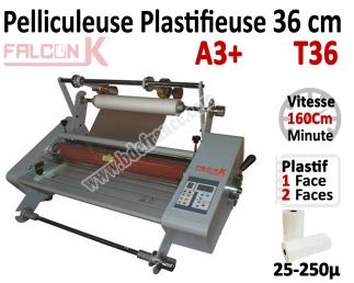Pelliculeuse et Plastifieuse en Continu - 36 cm A3 Vitesse : 160 cm/mn, 25-250µ T36 FALCONK Machine à Plastifier