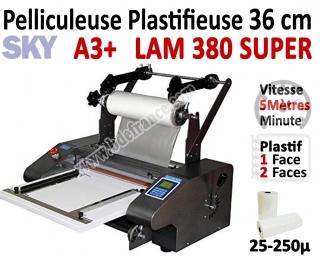Pelliculeuse et Plastifieuse en Continu - 36 cm A3+ Vitesse : 5 Métres/mn LAM380SUPER SKY Machine à Plastifier