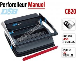 Perforelieur Manuel 20 Pages A4 - Anneaux Plastiques,Relier 450 feuilles CB20 DSB N°1 Machines à relier anneaux plastiques