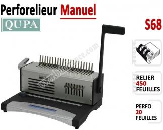 Perforelieur Manuel 20 Pages A4 - Anneaux Plastiques,Relier 450 feuilles S68 QUPA  Machine à relier par anneaux