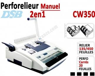 Perforelieur Manuel 20 feuilles A4 - Anneaux Plastique & 3:1 Métalliques CW350 DSB B - Multifonctions Reliure Plastiques + mé...
