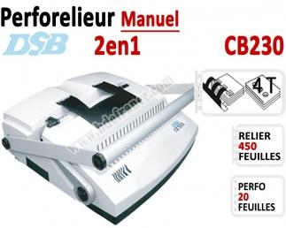 Perforelieur Manuel 20 feuilles A4 - Anneaux Plastique & 4 Trous Classeur CB230 DSB N°1 Machines à relier anneaux plastiques