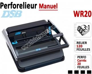Perforelieur 3:1 manuel 20 pages - Relier 120 feuilles A4,Perforation Carré WR20 DSB N°2 Machines à relier anneaux métalliques
