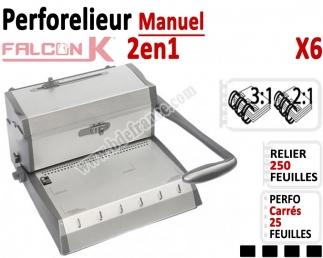 Perforelieur 3:1 & 2:1 manuel 25 pages - Relier 250 feuilles A4,Perforation Carré X6 FALCONK Machine à relier par anneaux