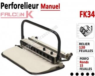 Perforelieur 3:1 manuel 15 pages - Relier 120 feuilles A4,Perforation Rond FK34 FALCONK Machine à relier par anneaux
