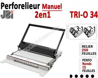 Perforelieur 3:1 & 2:1 manuel 15 pages - Relier 250 feuilles A4,Perforation Rond TRI-O 34 JBI Machine à relier par anneaux