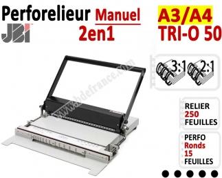 Perforelieur 3:1 manuel 15 pages - Relier 120 feuilles A3,Perforation Rond TRI-O 50 JBI Machine à relier par anneaux