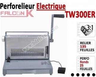 Perforelieur 3:1 électrique 25 pages A4 - Anneaux Métalliques 3:1 Trous ronds TW300ER FALCONK Machine à relier par anneaux