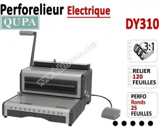 Perforelieur 3:1 électrique 25 pages A4 - Anneaux Métalliques 3:1 Trous ronds DY310 QUPA  Machine à relier par anneaux