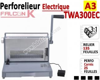 Perforelieur 3:1 électrique 25 pages A3 Anneaux Métalliques 3:1Trous Carrés TWA300EC FALCONK Machine à relier par anneaux