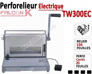 Perforelieur 3:1 électrique 25 pages A4 -Anneaux Métalliques 3:1 Trous Carrés TW300EC FALCONK Machine à relier par anneaux
