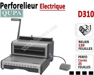 Perforelieur 3:1 électrique 25 pages A4 - Anneaux Métalliques 3:1 Trous carrés D310 QUPA  Machine à relier par anneaux