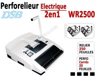Perforelieur électrique 20 feuilles A4 - Anneaux Métalliques 3:1 & 2:1 WR2500 DSB Machine à relier par anneaux