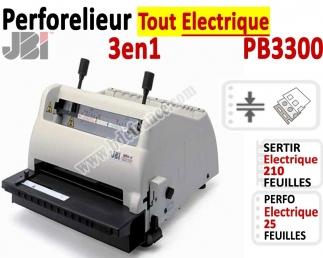 Perforelieur Electrique 25 feuilles -Relieur électrique 210 feuilles PB3300 JBI N°2 Machines à relier anneaux métalliques