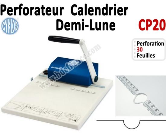 Perforateur Manuelle en demi-lune- pour calendrier Coupe par 30 feuilles CP20 CYKLOS N°2 Machines à relier anneaux métalliques