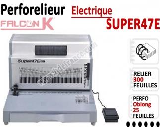 Perforelieur 4:1 Electrique 25 pages A4 -Reliure Coil 4:1 Trous Oblongs SUPER47E FALCONK Machine à relier par anneaux
