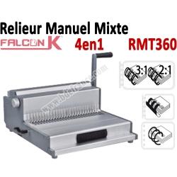 Relieur Manuel Plastique / Metal/ Coil - Relier jusqu'a 450 Feuilles RMT360 FALCONK Machine à relier par anneaux