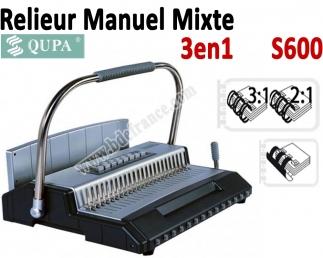 Relieur Manuel Plastique / Metal - Relier jusqu'a 450 Feuilles S600 QUPA  Machine à relier par anneaux