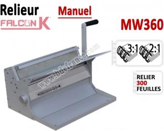 Relieur Manuel Reliure Métal 3:1 & 2:1 -Relier jusqu'au 300 feuilles. MW360 FALCONK C - Relieur professionnel