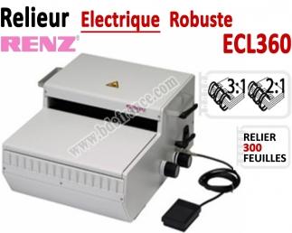 Relieur Electrique Metal 3:1 & 2:1 - Relier jusqu'au 300 feuilles. ECL360. RENZ Machine à relier par anneaux