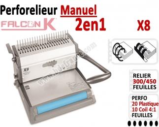 Perforelieur 20 feuilles Plastique - Perforer 10 feuilles Coil 4:1 Oblong X8 FALCONK Machine à relier par anneaux