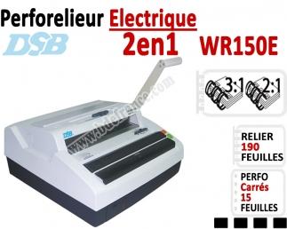 Perforelieur électrique 15 feuilles A4 - Anneaux Métalliques 3:1 & 2:1 WR150E DSB N°3 Perforelieur Multifonctions