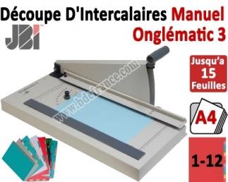 Découpe d'intercalaire 12 Touches - Capacité de coupe : 15 feuilles 29,7 Cm ON3N JBI N°6 Découpes d'Onglets