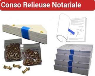 Consommable de reliure NOTARIALE - bandes scellées bleu, vis ASSEMBLAC N° 4 - Reliure NOTARIALE