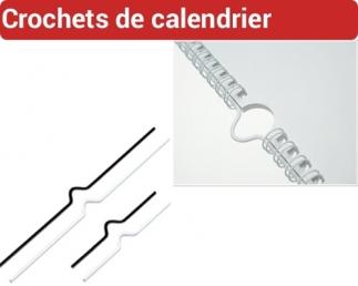 Crochets calendrier Blanc Noir Argent - Longueur 80/100/150/200mm CRO FALCONK A - Consommable Pour Reliure