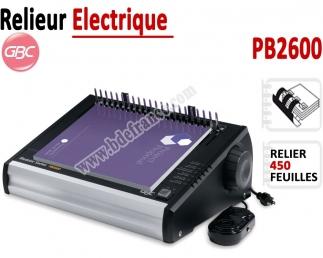 Relieur Electrique Anneaux Plastique - Relier jusqu'a 450 Feuilles PB2600 GBC C - Relieur professionnel