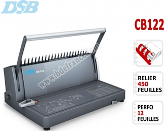 Perforelieur Manuel 12 Pages A4 - Anneaux Plastiques,Relier 450 feuilles CB122 DSB N°1 Machines à relier anneaux plastiques
