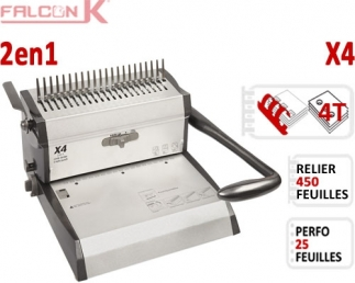 Perforelieur Manuel 25 feuilles A4 - Anneaux Plastiques & 4 Trous Classeur X4 FALCONK A - Multifonctions Reliure Plastiques +...
