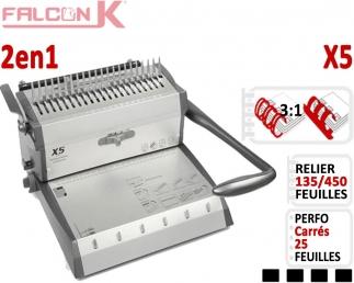 Perforelieur Manuel 25 feuilles A4 - Anneaux Plastique & 3:1 Métalliques X5 FALCONK N°3 Perforelieur Multifonctions
