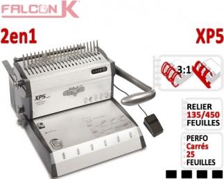 Perforelieur Electrique 25 feuilles A4 -Anneaux Plastique & 3:1 Métalliques XP5 FALCONK Machine à relier par anneaux
