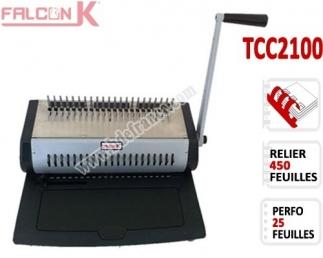 Perforelieur Manuel 25 Pages A4 - Anneaux Plastiques,Relier 450 feuilles TCC2100 FALCONK Machine à relier par anneaux