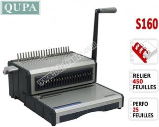 Perforelieur Manuel 25 Pages A4 - Anneaux Plastiques,Relier 450 feuilles S160 QUPA  Machine à relier par anneaux