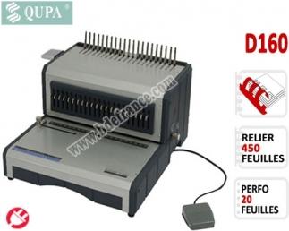 Perforelieur Electrique 20 Pages A4 - Anneaux Plastiques,Relier 450 feuilles D160 QUPA  Machine à relier par anneaux