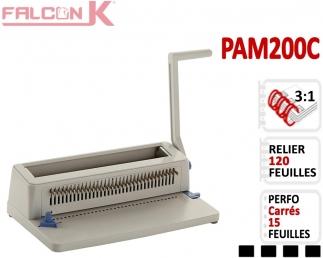 Perforelieur 3:1 manuel 15 pages - Relier 120 feuilles A4,Perforation Carré PAM200C FALCONK Machine à relier par anneaux