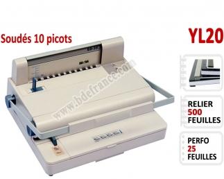 Perforation Manuel 25 Feuilles - Par peignes soudés 500 feuilles YL20 BDE Machine à relier par anneaux