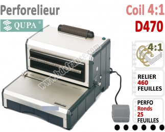 Perforelieur 4:1 Electrique 25 pages A4 -Reliure Coil 4:1 Trous Ronds D470 QUPA  N°4 Perforelieur Spirale Coil