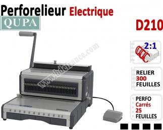 Perforelieur 2:1 électrique 25 pages A4 - Anneaux Métalliques 2:1 Trous carrés D210 QUPA  Machine à relier par anneaux