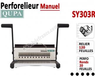 Perforelieur 3:1 manuel 20 pages - Relier 120 feuilles A4,Perforation Rond SY303R QUPA  Machine à relier par anneaux