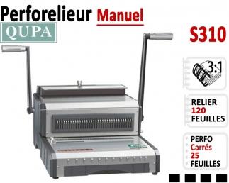 Perforelieur 3:1 manuel 25 pages - Relier 120 feuilles A4,Perforation Carré S310 QUPA  Machine à relier par anneaux