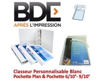 Classeur Personnalisable Blanc - Pochette Plan & pochette 6/10°- 9/10° BDE N° 2 - Classeur personnalisable & Pochette