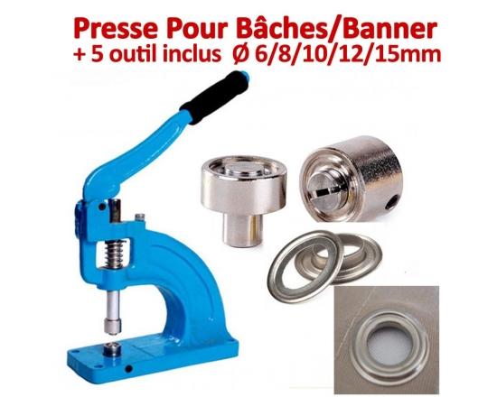 Presse Pour Bâches /Banner - 5 outils inclus de Ø 6/8/10/12/15mm T3 FALCONK Presse Pour Bâches
